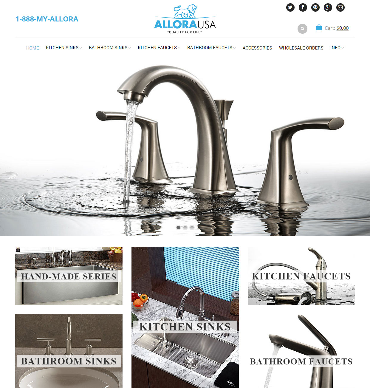 custom wordpress website for kitchen sink and faucet manufacturer