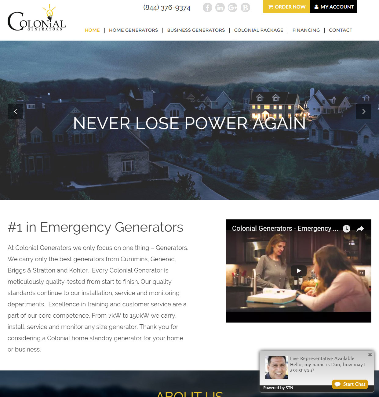custom wordpress woocommerce website for generator dealer in philadelphia