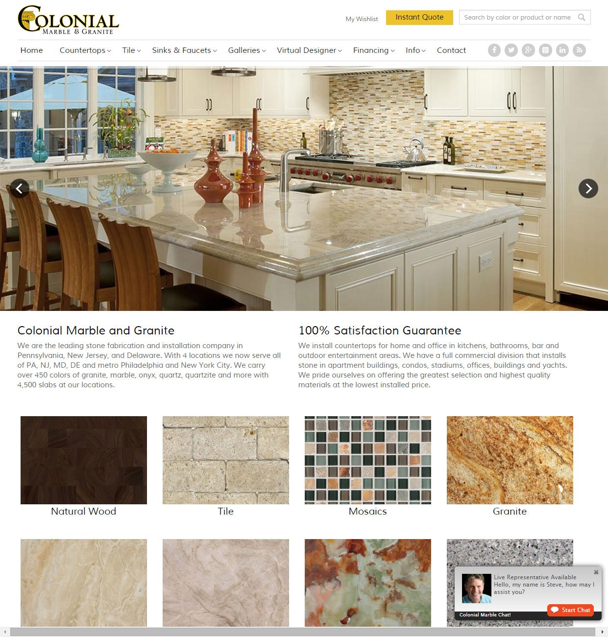 custom website for colonial marble and granite - countertop fabricator philadelphia pa