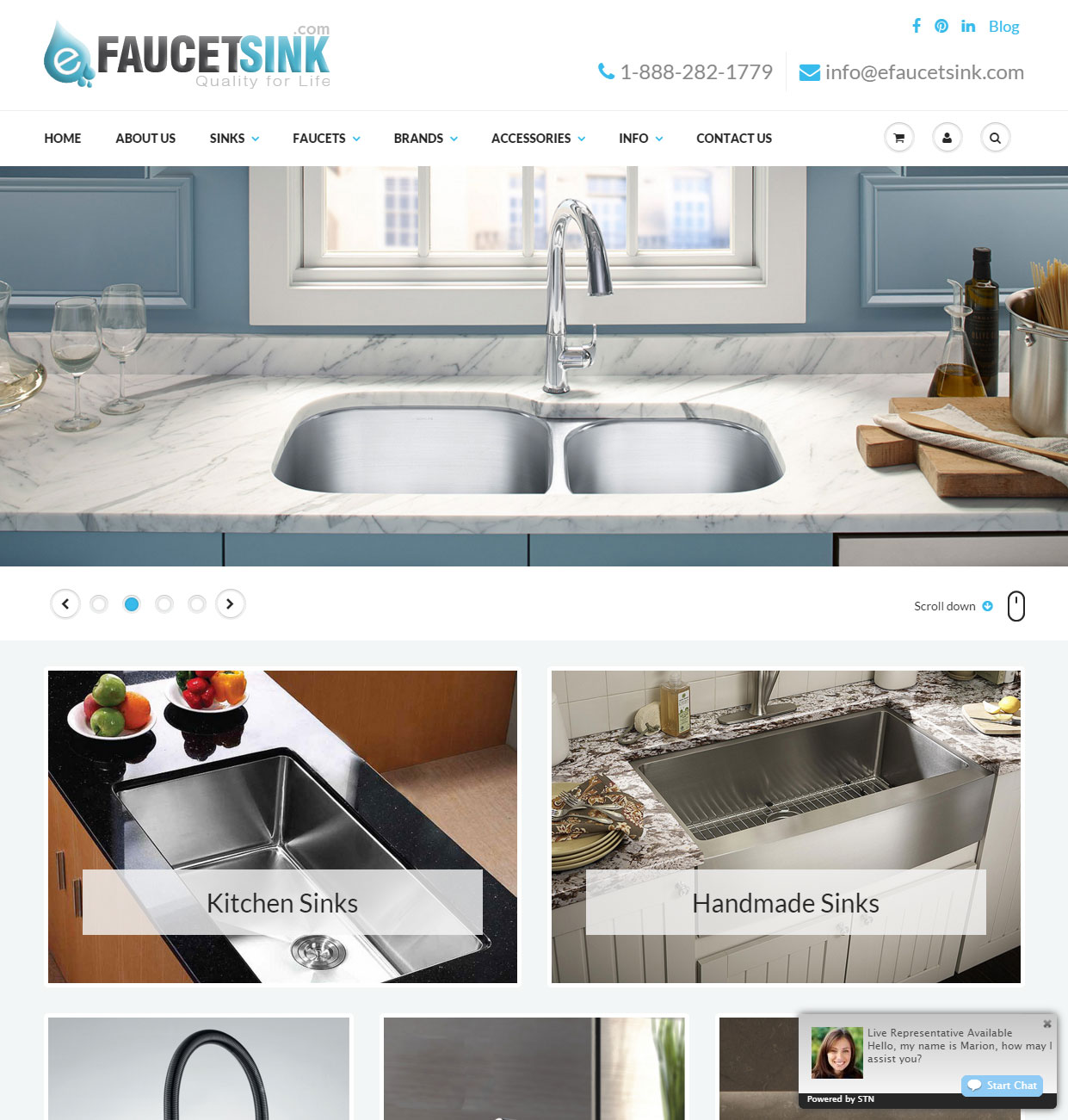 custom wordpress website for kitchen sink and faucet manufacturer in virginia